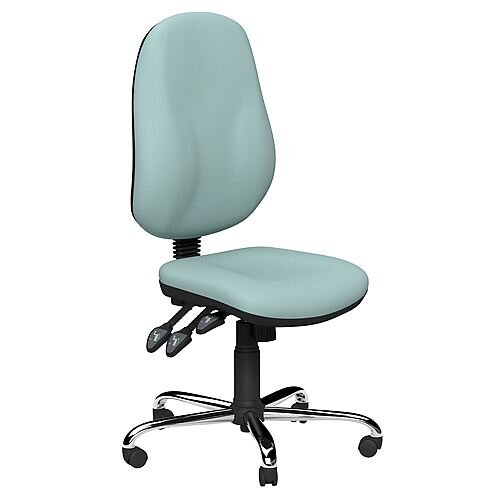 O.B Series Office Chair Leather Look Seat Chrome Base Light Blue