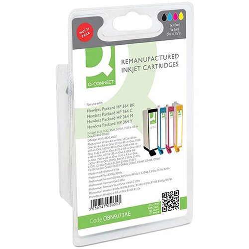 Q-Connect HP 364 Ink Cartridge Black and Tri-Colour Multipack N9J73AE
