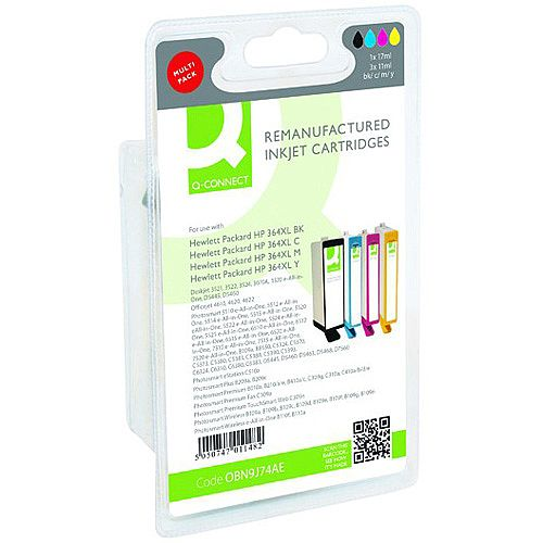 Q-Connect HP 364XL Ink Cartridge HY Colour Pack of 4 N9J74AE-COMP