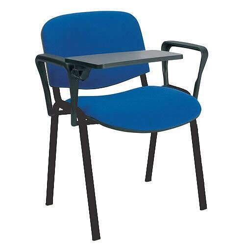 O.I Series Stacking Chair With Writing Tablet Blue Fabric Black Legs