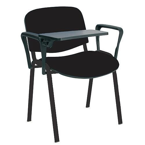 O.I Series Stacking Chair With Writing Tablet Black Fabric Black Legs