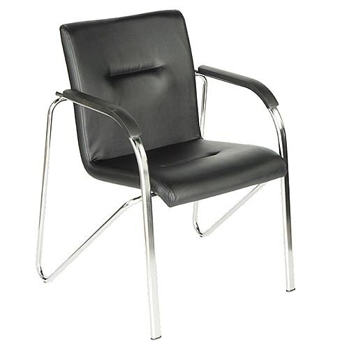 Black Leather Look Boardroom Stacking Chair Sandy