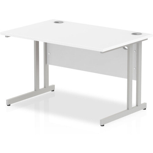 Rectangular Desk White with Silver Double Cantilever Legs 1200mm Width x 800mm Depth