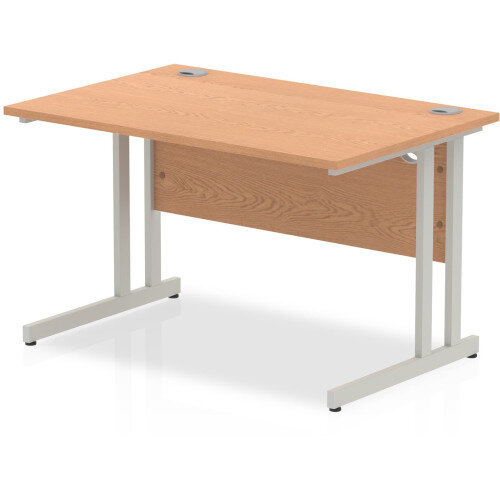 Rectangular Desk Oak with Silver Double Cantilever Legs 1200mm Width x 800mm Depth