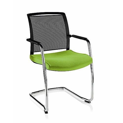 Mid Back Chair Black Mesh Back &Green Fabric Upholstered Seat O.Z Series