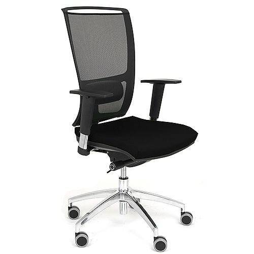Ergonomic Mesh Task Operator Office Chair With Lumbar Support &Adjustable Arms Black Eco-Leather Seat OZ Series