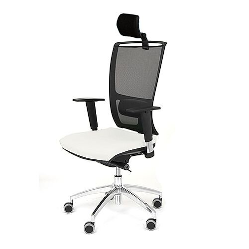 Ergonomic Mesh Task Operator Office Chair With Headrest Lumbar Support &Adjustable Arms White Eco-Leather Seat OZ Series