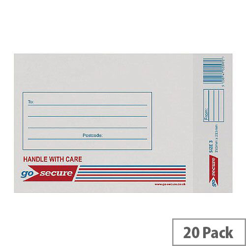 GoSecure Bubble Lined Envelope Size 3 150x215mm White Pack of 20 PB02131