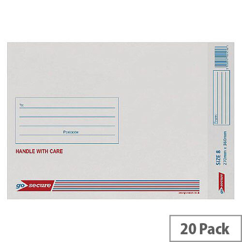 GoSecure Bubble Lined Envelope Size 8 270x360mm White Pack of 20 PB02134