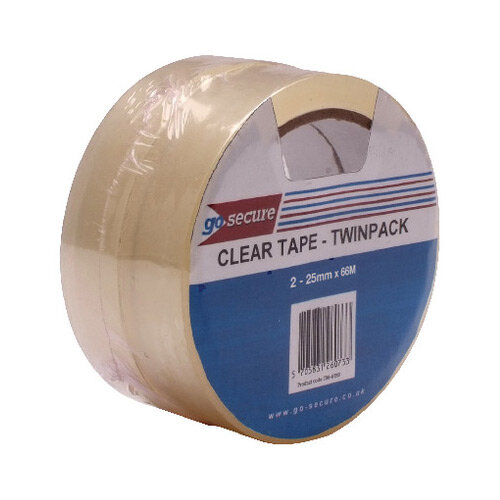 Go Secure Twin Pack 25mm x 66m Clear Tape Pack of 6 PB02305