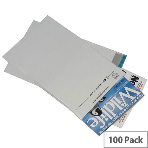 GoSecure Lightweight 595x430mm Grey Polythene Protective Envelopes Pack of 100