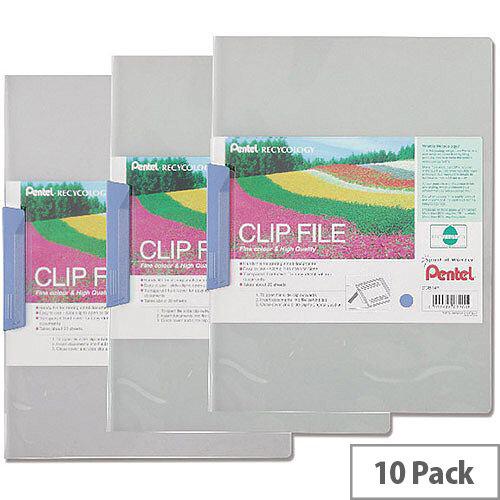 Pentel Recycology A4 Clip File Blue DCB14C