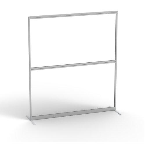 Floor Standing Fully Glazed Clear Fixed Screens with Desk High Split Rail &Aluminium Trim W800xH1600mm