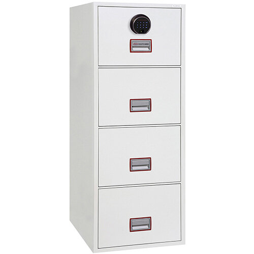 Phoenix World Class Vertical Fire File FS2274F 4 Drawer Filing Cabinet with Electronic Fingerprint Lock White
