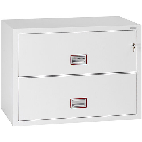 Phoenix World Class Lateral Fire File FS2412K 2 Drawer Side Filer Filing Cabinet with Key Lock White