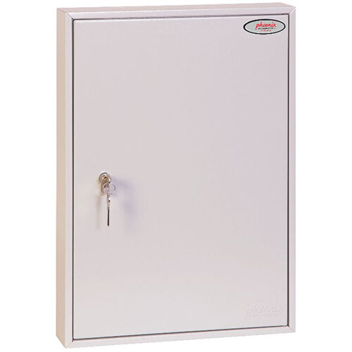Phoenix Commercial Key Cabinet KC0603P With 100 Key Hooks Key Lock White