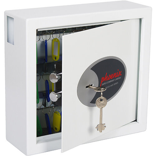 Phoenix Cygnus Key Deposit Safe KS0031K With 30 Key Hooks Key Lock &Deposit Slot White