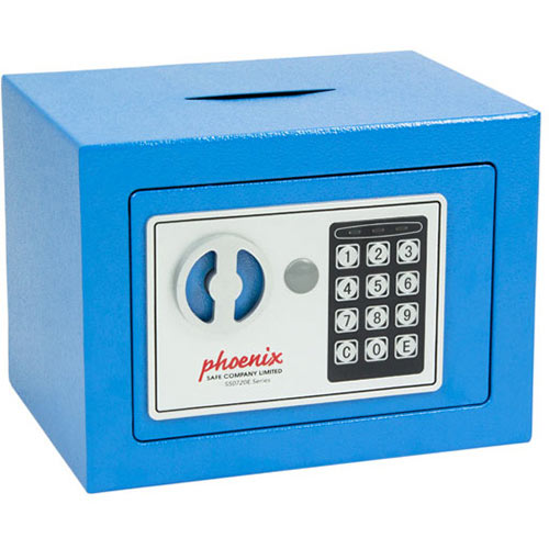 Phoenix SS0721EBD Compact Home Office Security Safe 4L With Electronic Lock &Deposit Slot Blue
