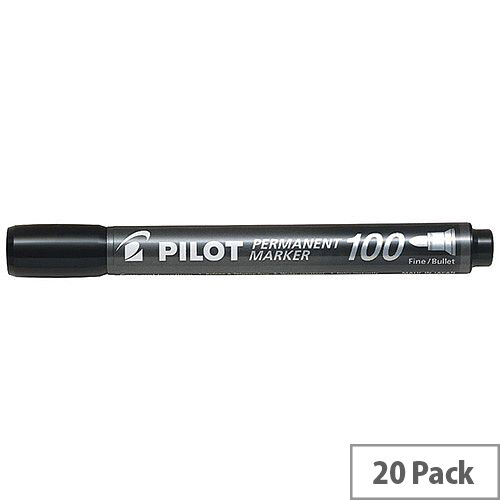 Pilot 100 Permanent Market Black Bullet Tip Pack of 20 3131910501268