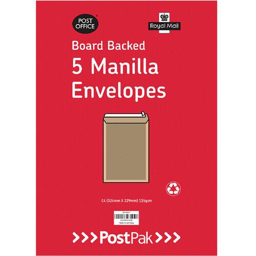 Envelopes C4 Peel &Seal Manilla 115Gsm Board Back Pack of 5 POF27420
