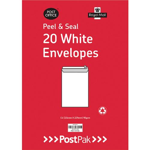 Envelopes C4 Peel &Seal White 90Gsm Pack of 20 POF27421