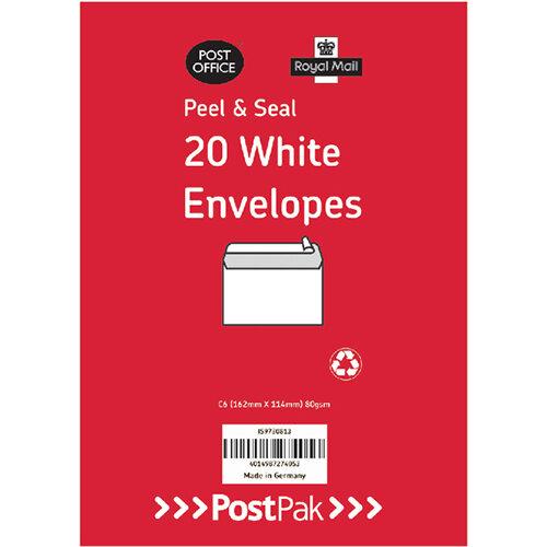 Envelopes C6 Peel & Seal White 80Gsm Pack of 20 POF27425
