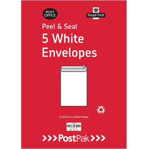 Envelopes C4 Peel &Seal White 90Gsm Pack of 5 POF27429