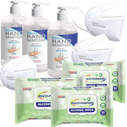 Basic Personal Protection Pack - 10 KN95 Face Masks &3 Hand Sanitisers &3 Multipurpose Alcohol Wipes