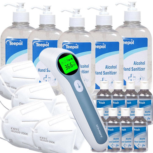Workplace Covid Ready Pack Large - Thermometer, Mask, Sanitizer