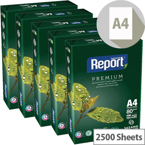 Report A4 80gsm White Premium Copier Paper 2500 Sheets