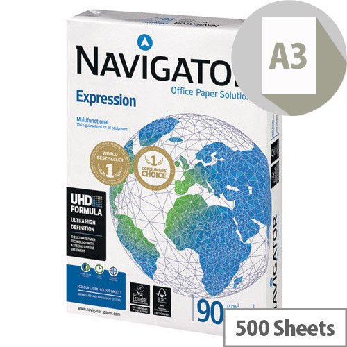Navigator A3 Expression Paper 90gsm Pack of 500 NAVA390