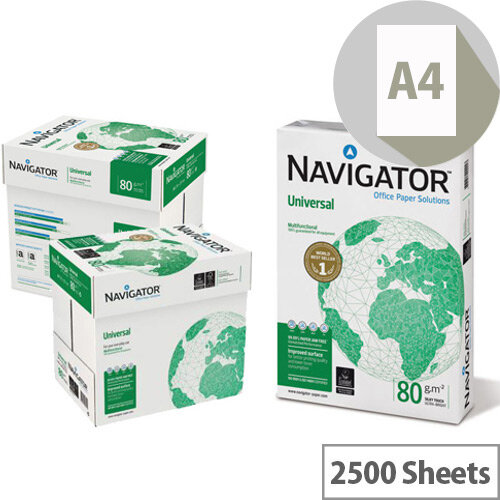 Navigator Universal A4 80gsm White Printer Paper Box of 2500 Sheets