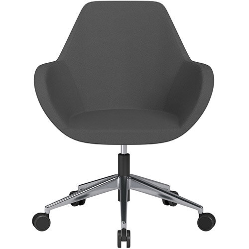 Fan Swivel Armchair with Economic Mechanism 5 Star Base Dark Grey Evo Fabric Seat &Polished Aluminium Base with Castors for Soft Floors - Perfect Seating Solution for Breakout, Reception Areas &Boardroom