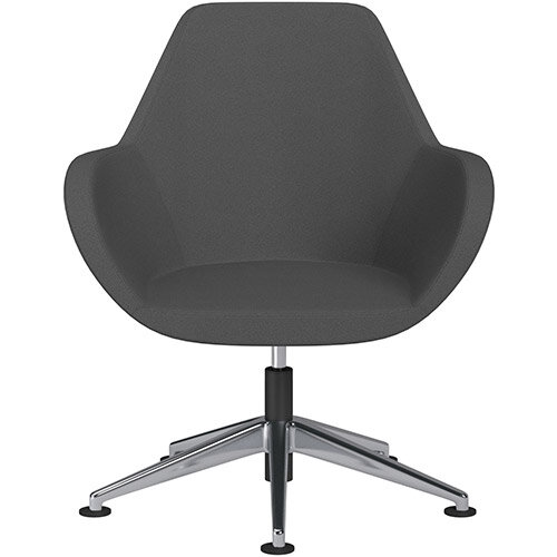 Fan Swivel Armchair with Economic Mechanism 5 Star Base Dark Grey Evo Fabric Seat &Polished Aluminium Base with Universal Teflon Glides - Perfect Seating Solution for Breakout, Reception Areas &Boardroom