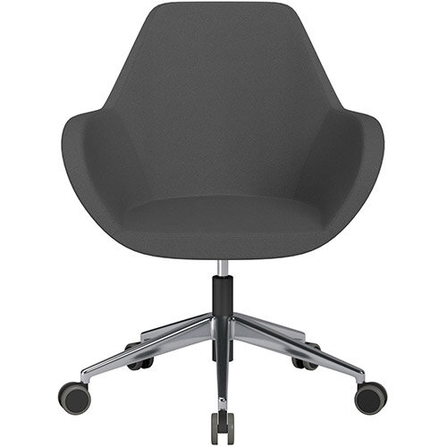 Fan Swivel Armchair with Economic Mechanism 5 Star Base Dark Grey Evo Fabric Seat &Polished Aluminium Base with Castors for Hard Floors - Perfect Seating Solution for Breakout, Reception Areas &Boardroom