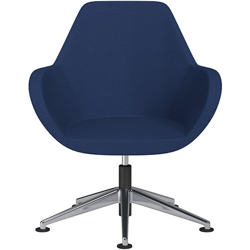 Fan Swivel Armchair with Economic Mechanism 5 Star Base Navy Evo Fabric Seat &Polished Aluminium Base with Universal Teflon Glides - Perfect Seating Solution for Breakout, Reception Areas &Boardroom