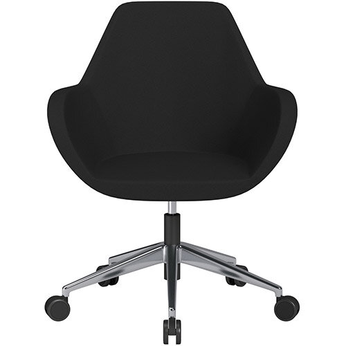 Fan Swivel Armchair with Economic Mechanism 5 Star Base Black Evo Fabric Seat &Polished Aluminium Base with Castors for Soft Floors - Perfect Seating Solution for Breakout, Reception Areas &Boardroom