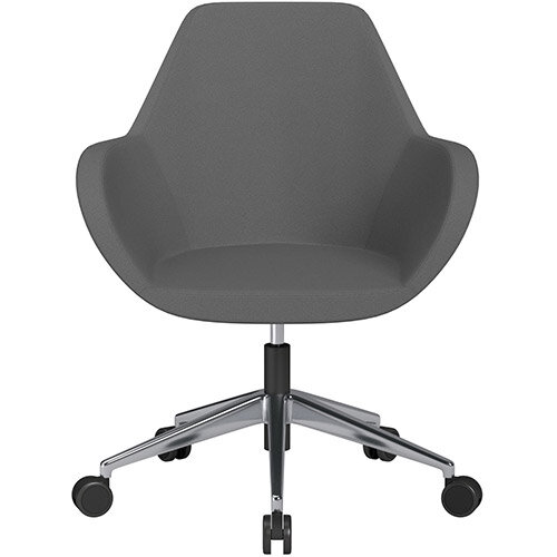 Fan Swivel Armchair with Economic Mechanism 5 Star Base Grey Evo Fabric Seat &Polished Aluminium Base with Castors for Soft Floors - Perfect Seating Solution for Breakout, Reception Areas &Boardroom