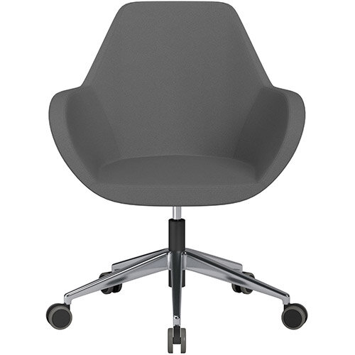 Fan Swivel Armchair with Economic Mechanism 5 Star Base Grey Evo Fabric Seat &Polished Aluminium Base with Castors for Hard Floors - Perfect Seating Solution for Breakout, Reception Areas &Boardroom