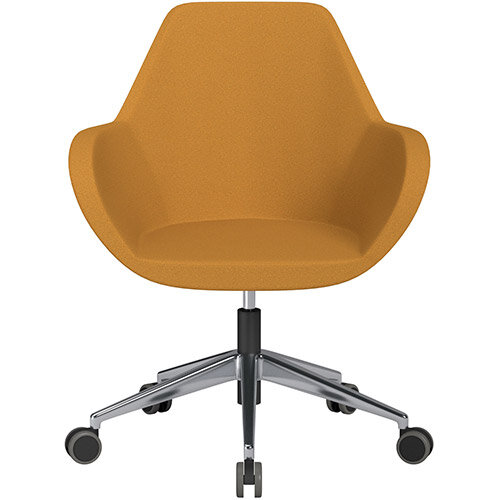 Fan Swivel Armchair with Economic Mechanism 5 Star Base Yellow Evo Fabric Seat &Polished Aluminium Base with Castors for Hard Floors - Perfect Seating Solution for Breakout, Reception Areas &Boardroom