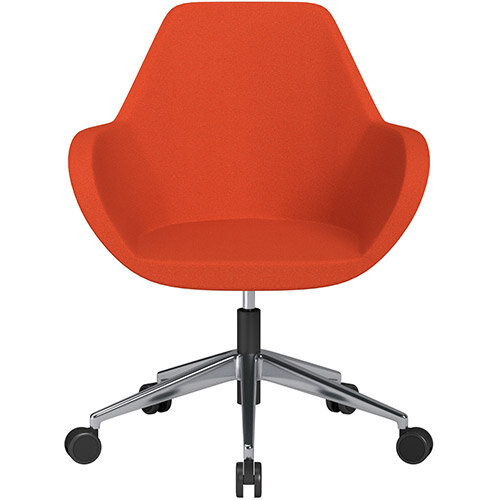Fan Swivel Armchair with Economic Mechanism 5 Star Base Light Orange Evo Fabric Seat &Polished Aluminium Base with Castors for Soft Floors - Perfect Seating Solution for Breakout, Reception Areas &Boardroom