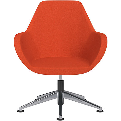 Fan Swivel Armchair with Economic Mechanism 5 Star Base Light Orange Evo Fabric Seat &Polished Aluminium Base with Universal Teflon Glides - Perfect Seating Solution for Breakout, Reception Areas &Boardroom