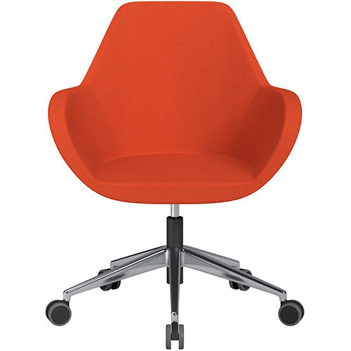 Fan Swivel Armchair with Economic Mechanism 5 Star Base Light Orange Evo Fabric Seat &Polished Aluminium Base with Castors for Hard Floors - Perfect Seating Solution for Breakout, Reception Areas &Boardroom