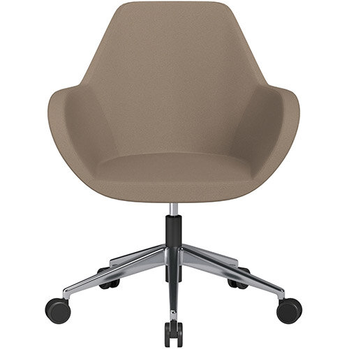 Fan Swivel Armchair with Economic Mechanism 5 Star Base Beige Evo Fabric Seat &Polished Aluminium Base with Castors for Soft Floors - Perfect Seating Solution for Breakout, Reception Areas &Boardroom
