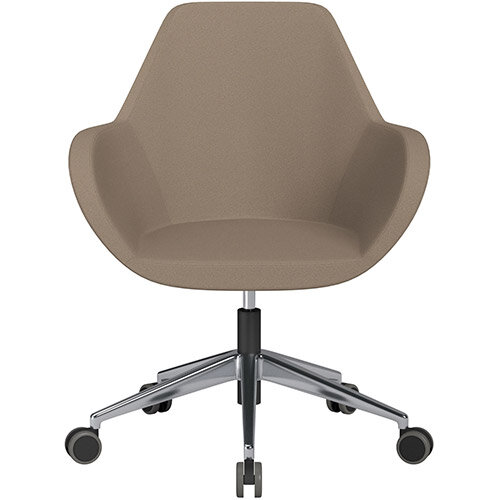 Fan Swivel Armchair with Economic Mechanism 5 Star Base Beige Evo Fabric Seat &Polished Aluminium Base with Castors for Hard Floors - Perfect Seating Solution for Breakout, Reception Areas &Boardroom