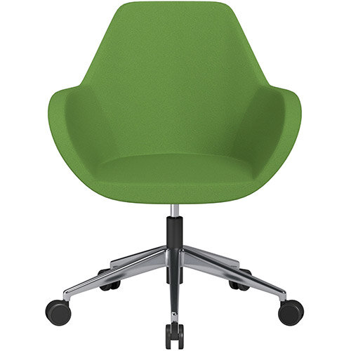 Fan Swivel Armchair with Economic Mechanism 5 Star Base Green Evo Fabric Seat &Polished Aluminium Base with Castors for Soft Floors - Perfect Seating Solution for Breakout, Reception Areas &Boardroom