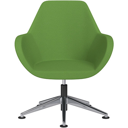 Fan Swivel Armchair with Economic Mechanism 5 Star Base Green Evo Fabric Seat &Polished Aluminium Base with Universal Teflon Glides - Perfect Seating Solution for Breakout, Reception Areas &Boardroom