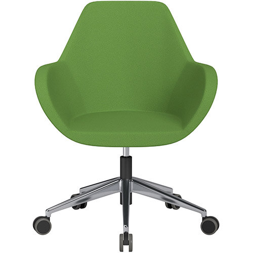 Fan Swivel Armchair with Economic Mechanism 5 Star Base Green Evo Fabric Seat &Polished Aluminium Base with Castors for Hard Floors - Perfect Seating Solution for Breakout, Reception Areas &Boardroom