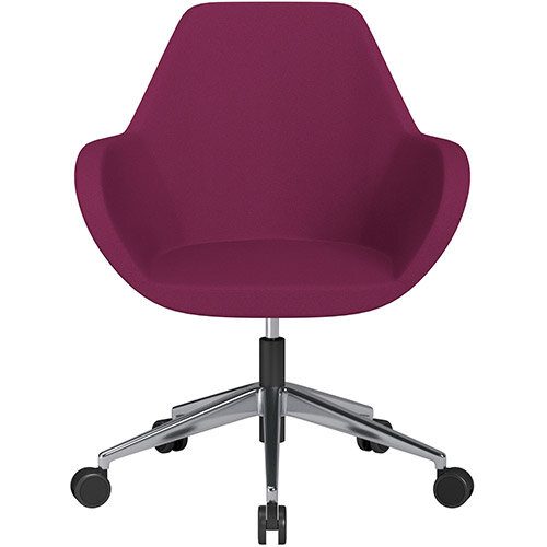 Fan Swivel Armchair with Economic Mechanism 5 Star Base Pink Evo Fabric Seat &Polished Aluminium Base with Castors for Soft Floors - Perfect Seating Solution for Breakout, Reception Areas &Boardroom