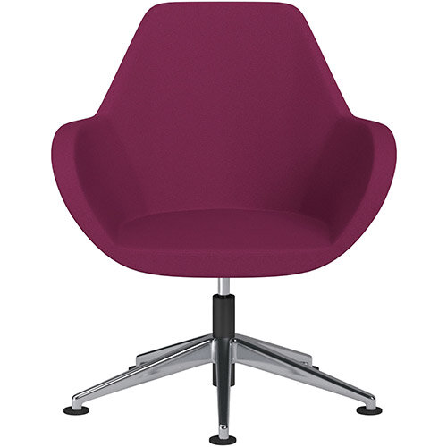 Fan Swivel Armchair with Economic Mechanism 5 Star Base Pink Evo Fabric Seat &Polished Aluminium Base with Universal Teflon Glides - Perfect Seating Solution for Breakout, Reception Areas &Boardroom